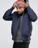 Asos Hooded Bomber Jacket With MA1 Pocket In Navy