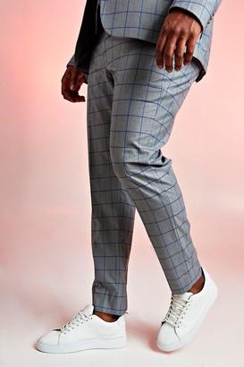 boohoo Mens Grey Big & Tall Skinny Fit Windowpane Suit Trouser, Grey