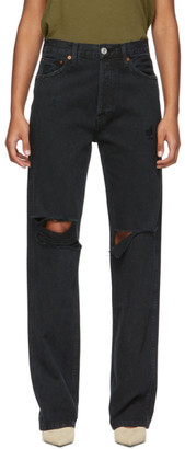 RE/DONE Black Rips High-Rise Loose Jeans