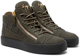 Giuseppe Zanotti - Logoball Croc-effect Leather High-top Sneakers