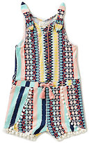 Jessica Simpson Baby Girls 12-24 Months Mixed-Media Striped Romper