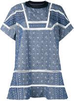Sacai aloha scarf embroidered chambray dress - women - Cotton/Cupro - 3