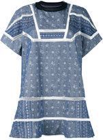 Sacai aloha scarf embroidered chambray dress