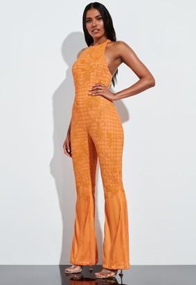 Missguided Orange Halterneck Embellished Jumpsuit