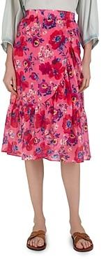 Gerard Darel Liccia Floral Print Ruffled Skirt