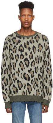 R 13 Green and Beige Leopard Camo Crewneck Sweater