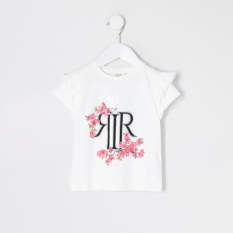 River Island Mini girls White RI floral frill T-shirt