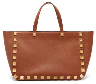 Valentino Roman Stud Grained-leather Tote Bag - Tan