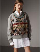 Burberry Gem-embellished Jersey Sweatshirt , Size: XL, Grey