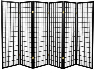Oriental Furniture 5' Tall Window Pane Shoji Screen, Black, 6 Panels
