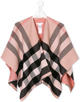 Burberry checkered poncho - kids - Wool - One Size