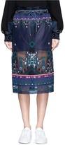 Sacai Embroidered tribal lace organza drawstring skirt