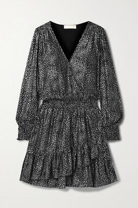 MICHAEL Michael Kors Wrap-effect Ruffled Metallic Printed Georgette Mini Dress