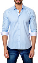 Jared Lang Micro-Check Long Sleeve Trim Fit Shirt