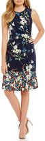 Eliza J Floral Drop Waist Ruffle Hem Dress