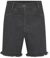 Frayed Denim Shorts In Washed Black