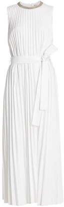 Brunello Cucinelli Pleated Cotton Popeline Midi Dress