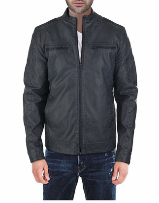 X-Ray Men's Slim Fit Washed Faux Leather Moto Jacket Deep Olive XX-Large