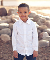 Couture Littlest Prince Boys' Button Down Shirts White - White Long-Sleeve Button-Up - Infant, Toddler & Boys