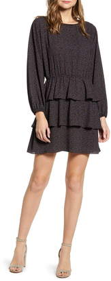 1 STATE 1.STATE Modern Speckle Ruffle Long Sleeve Minidress