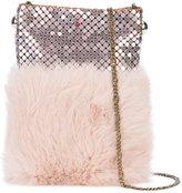 Laura B soft mobile bag - women - Leather/Rabbit Fur/Brass - One Size