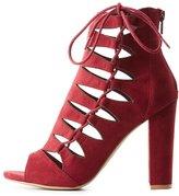 Charlotte Russe Laser Cut Lace-Up Sandals