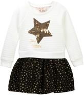 Juicy Couture Star Sequin Applique Sweatshirt Dress with Gold Star Skirt (Little Girls)