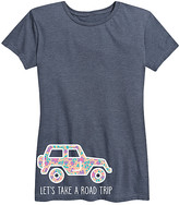 Instant Message Women's Women's Tee Shirts HEATHER - Heather Blue 'Let's Take a Road Trip' Floral Jeep Relaxed-Fit Tee - Women
