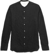 Officine Generale Grandad-Collar Textured Herringbone Cotton-Blend Shirt