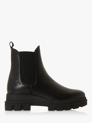 Dune Provense Leather Chunky Chelsea Boots, Black