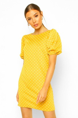 boohoo Polka Dot Puff Sleeve Shift Dress