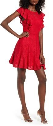 Speechless Ruffle Sleeve Lace Fit & Flare Minidress