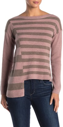 Knyt & Lynk Asymmetrical Striped Cashmere Pullover