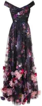 Marchesa Notte Floral Applique Gown