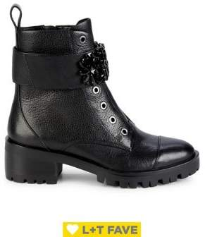 Karl Lagerfeld Paris Pippa Embellished Strap Leather Boots