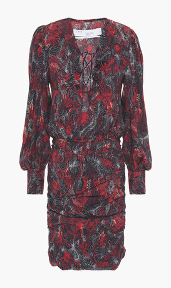 IRO Lace-up Printed Twill Mini Dress