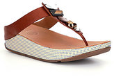 FitFlop Jeweley Leather Jeweled Toe Post Thong Style Slip On Sandals