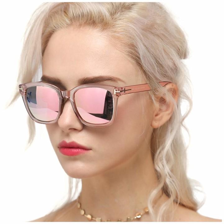 Myiaur Fashion Sunglasses for Women Polarized Driving Anti Glare 100% UV Protection Stylish Design (Pink Frame/Fashion Pink Lens)