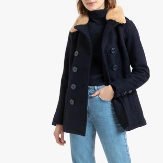 Schott Jkt Jibsail W Short Pea Coat in Wool Mix with Faux Fur Collar