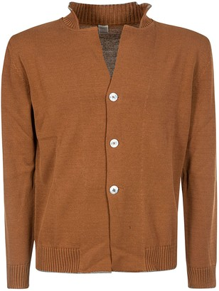 Eleventy Ribbed Neck Buttoned Cardigan