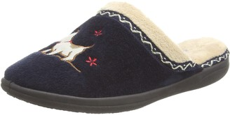 Padders Scotty Dog Motif Wide Fitting EE Womens Memory Foam Slippers - UK 3 - Navy