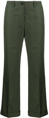 Aspesi High-Rise Turn-Up Hem Flared Trousers