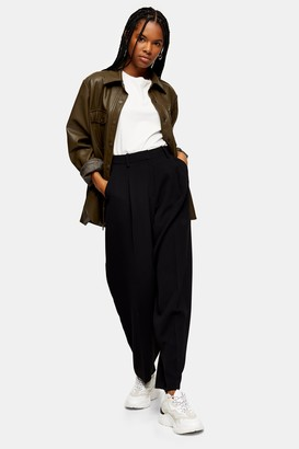 Topshop Black Slouch Peg Trousers With Elastic Back