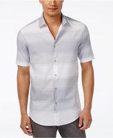 Alfani Men's Big and Tall Horizontal-Stripe Short-Sleeve Shirt, Only at Macy's