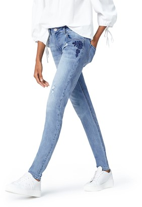 Find. Amazon Brand Women's Slim Mid Rise Stretch Embroidered Jeans