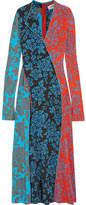 Diane von Furstenberg Paneled Printed Silk Maxi Dress - Blue