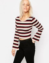 Only Himle Striped Crop Top