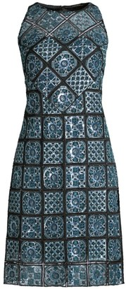 Elie Tahari Helena A-Line Embroidery Dress