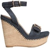 Stuart Weitzman 120mm Bissy Denim Wedge Sandals