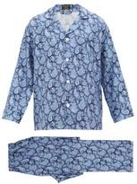 Emma Willis - Paisley Print Silk Twill Pyjama Set - Mens - Navy